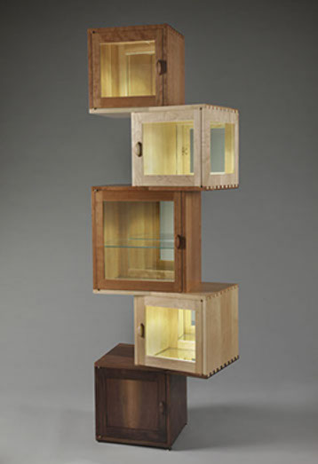 Kybos Five Cube Cabinet In Cherry, Maple, And Walnut With Glass Panels And  L.E.D.