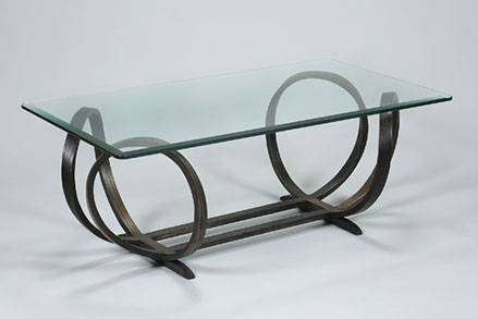 Stretch X.O. Bentwood Coffee Table In Iron Stained Oak, 17 Inches High With  A