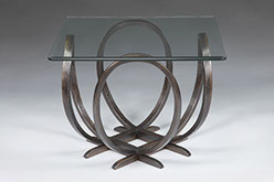 X O End Table In Iron Stained Oak 18 Inches High With A 28 Inch